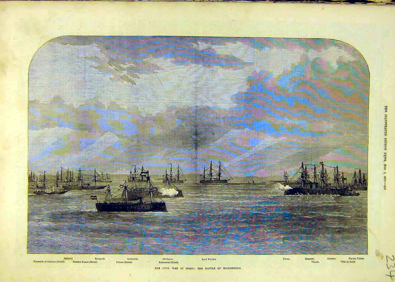 Print Civil War Spain Battle Escombrera Ships Naval 1873 34Ccc1 Old Original