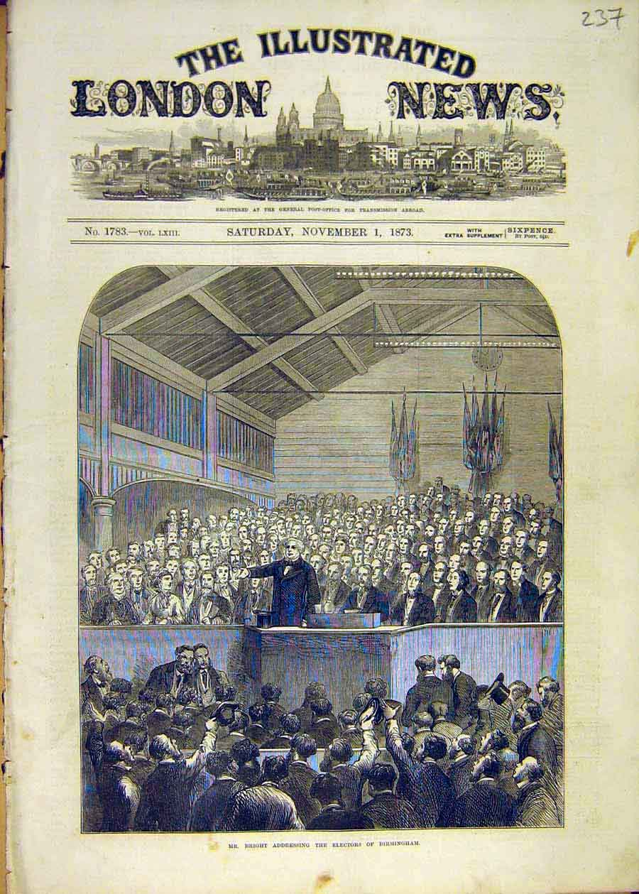 Print Bright Address Electors Birmingham People 1873 37Ccc1 Old Original