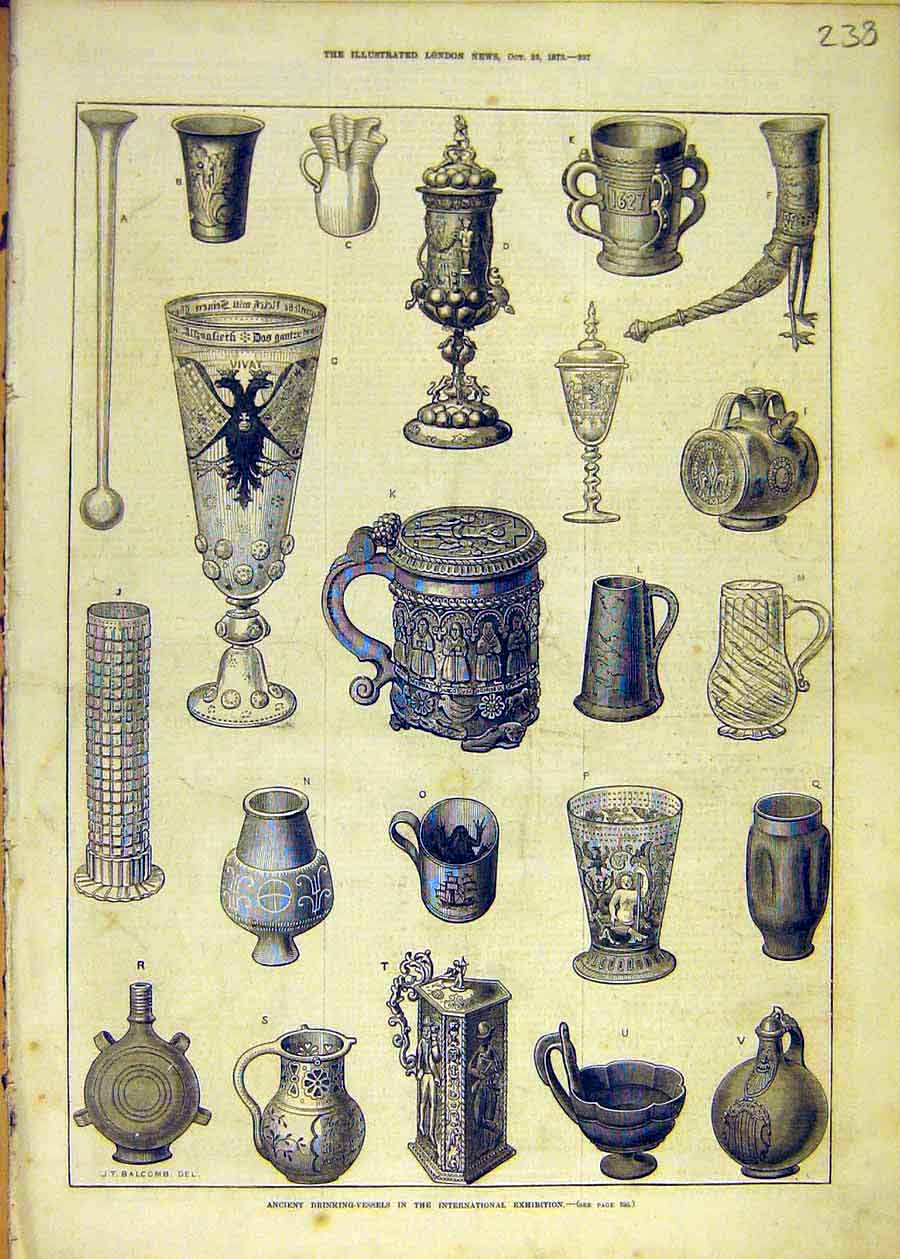 Print Drinking Vessels Exhibition Cup Tankard Chalice 1873 38Ccc1 Old Original