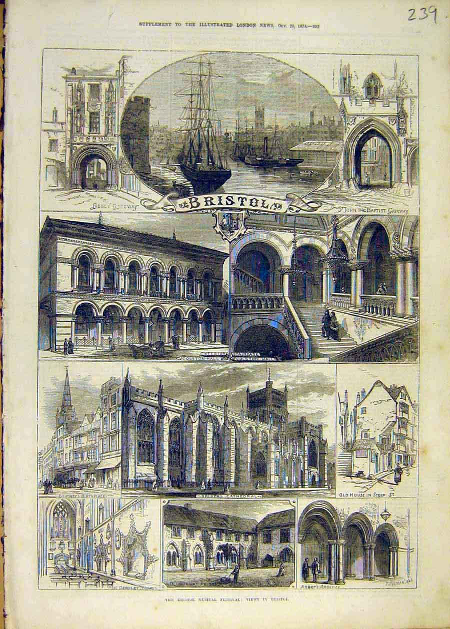 Print Bristol Musical Festival View Building Cathedral 1873 39Ccc1 Old Original