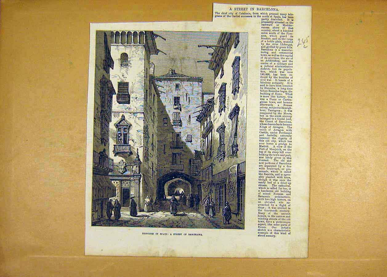 Print Sketches Spain Street Barcelona Places 1873 45Lccc1 Old Original