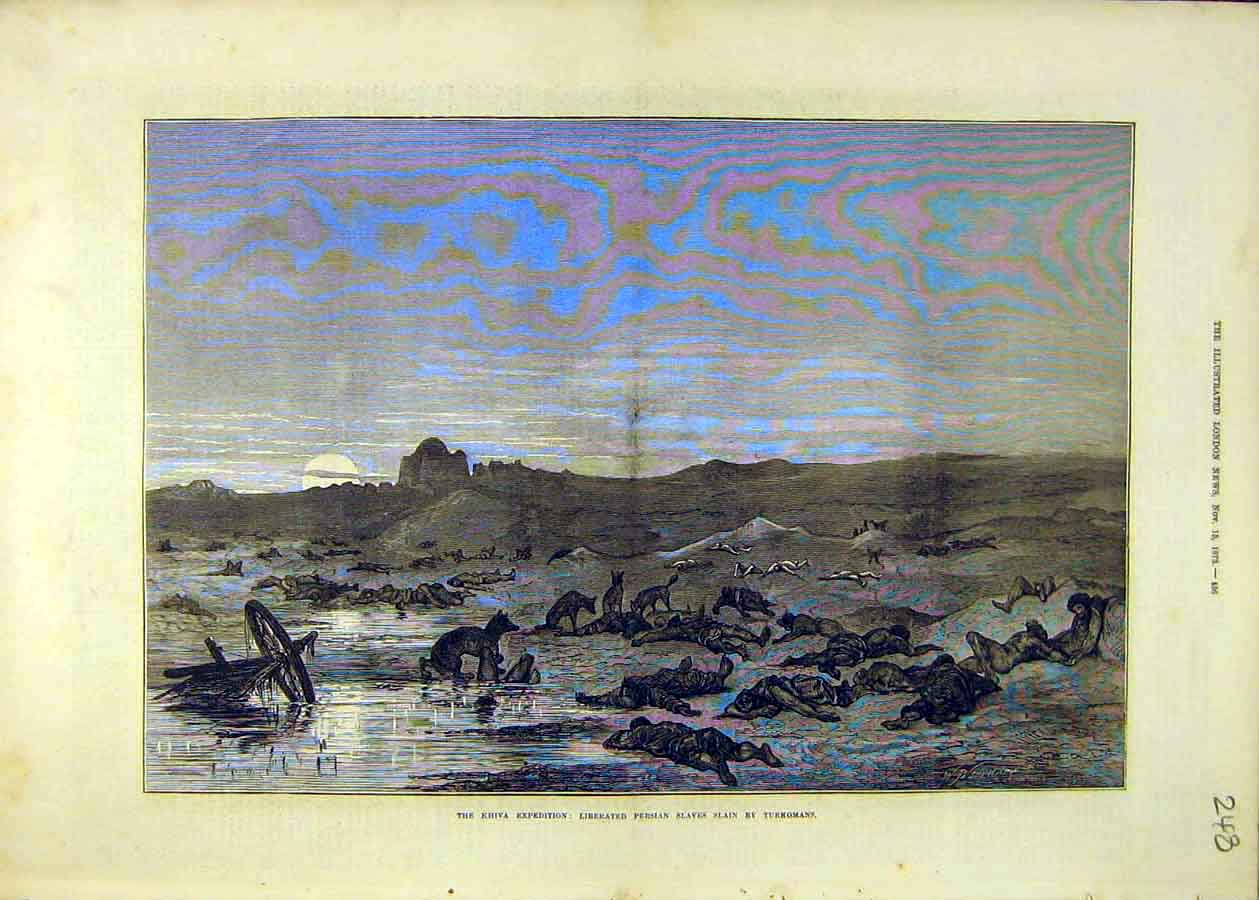 Print Khiva Expedition Persian Slaves Turkomans 1873 48Ccc1 Old Original
