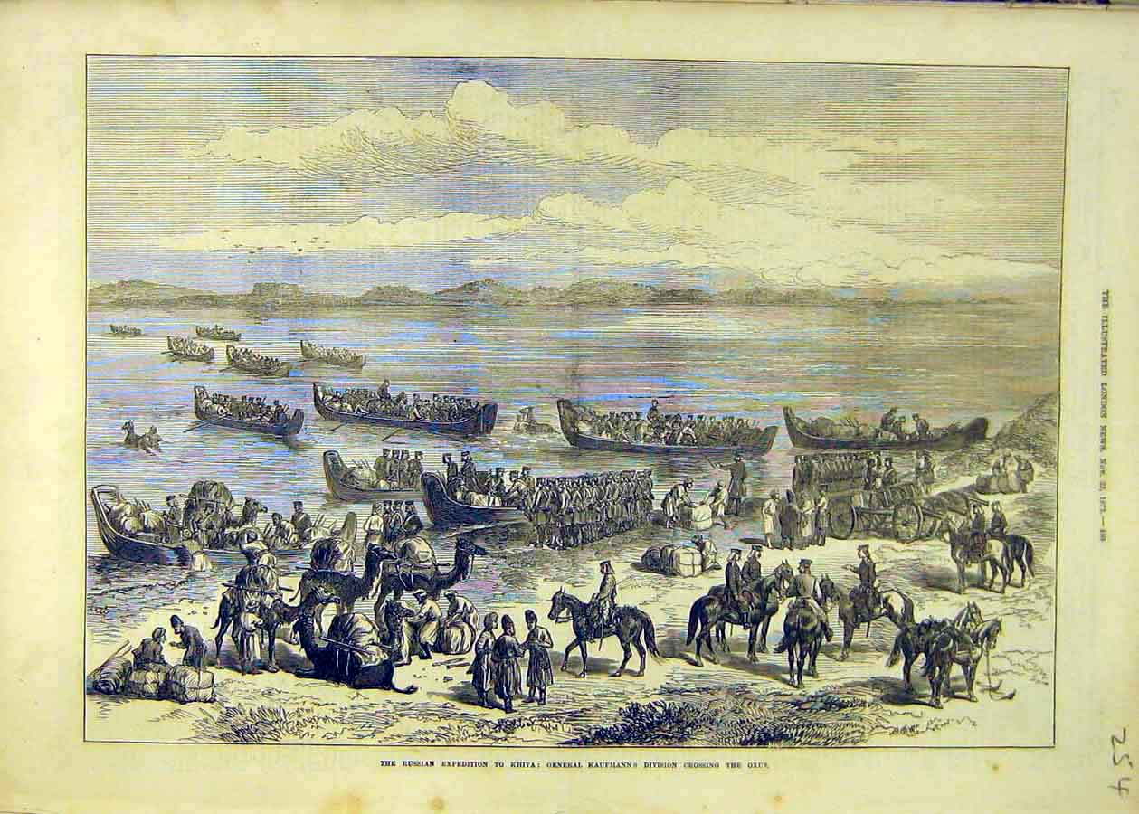 Print Russian Expedition Khiva Kaufmann Oxus Military 1873 54Ccc1 Old Original