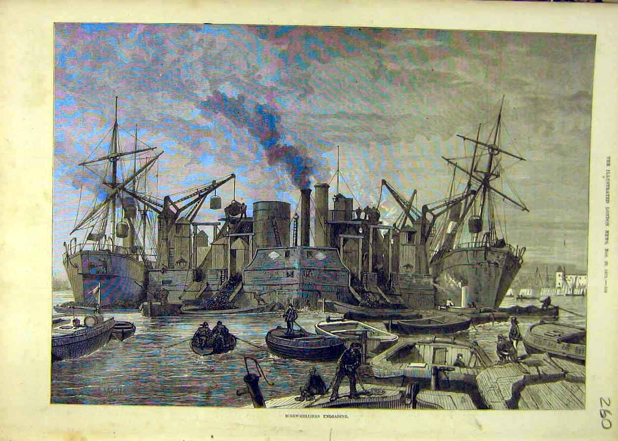 Print Screw-Colliers Unloading Ships Docks 1873 60Ccc1 Old Original