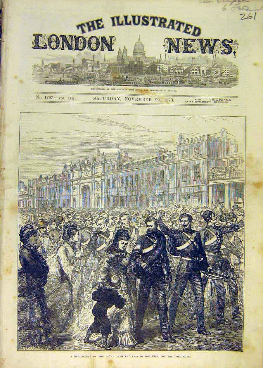 Print Royal Artillery Woolwich Gold-Coast Military 1873 61Ccc1 Old Original