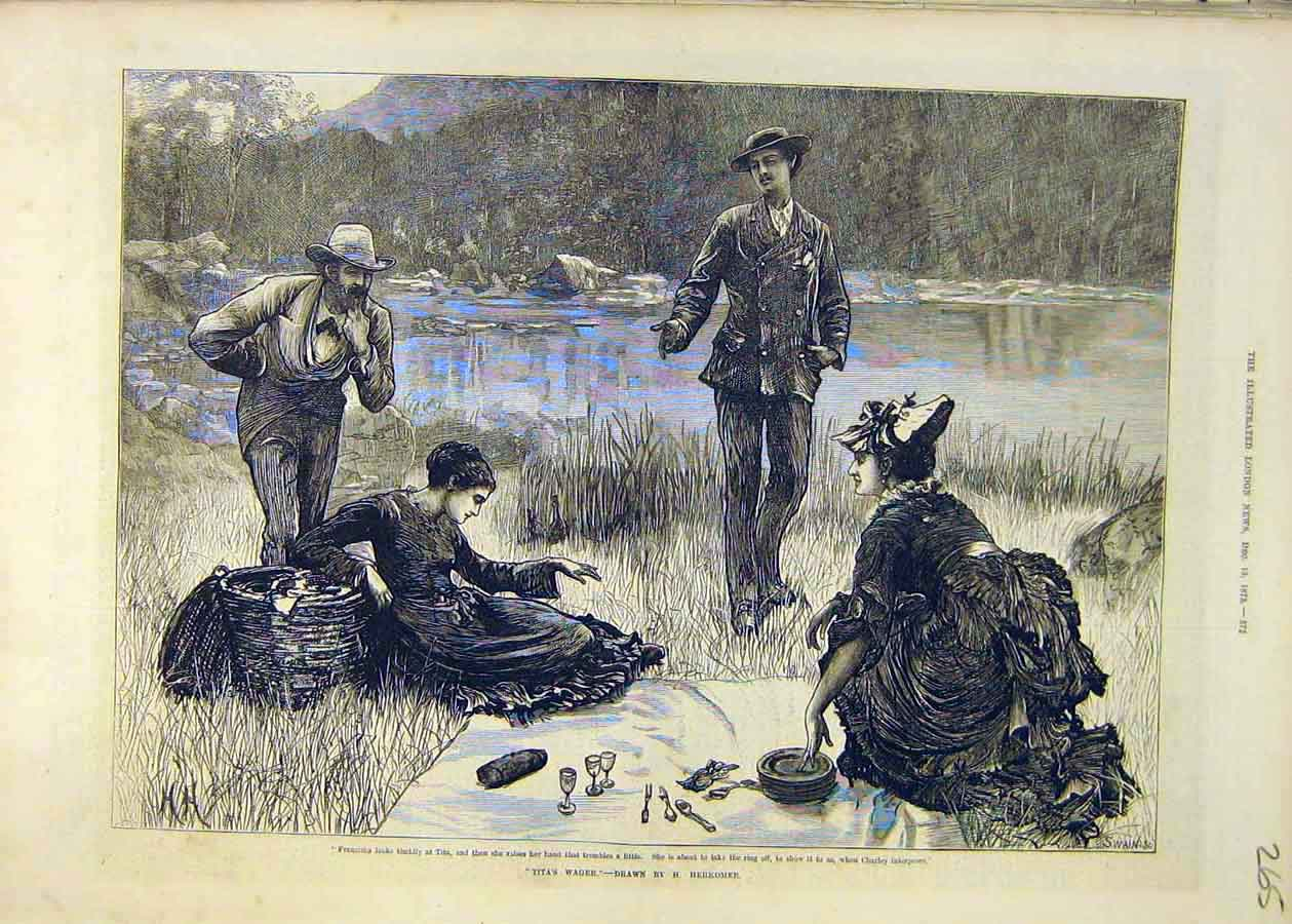 Print Tita'S Wager Herkomie Fine Art 1873 Ladies Men 65Ccc1 Old Original