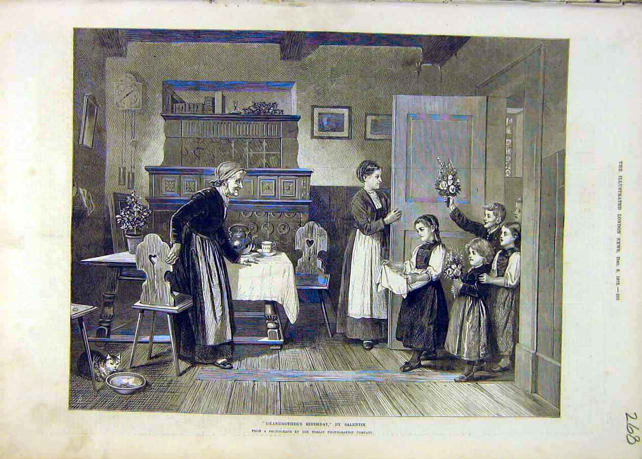 Print Fine Art 1873 Salentin Grandmother'S Birthday 68Ccc1 Old Original