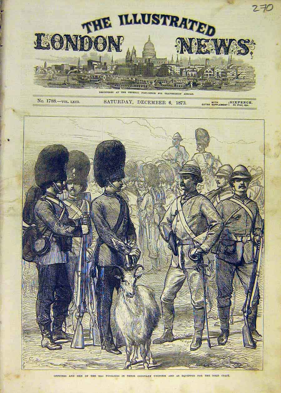 Print Officers Men 23Rd Fusiliers Uniform Gold-Coast 1873 70Ccc1 Old Original
