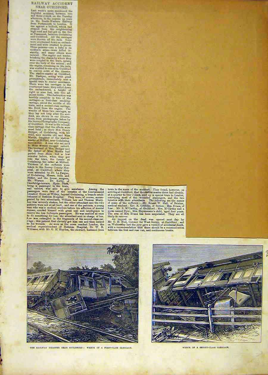 Print Railway Accident Guildford Wreck Train Carriage 1873 73Lccc1 Old Original