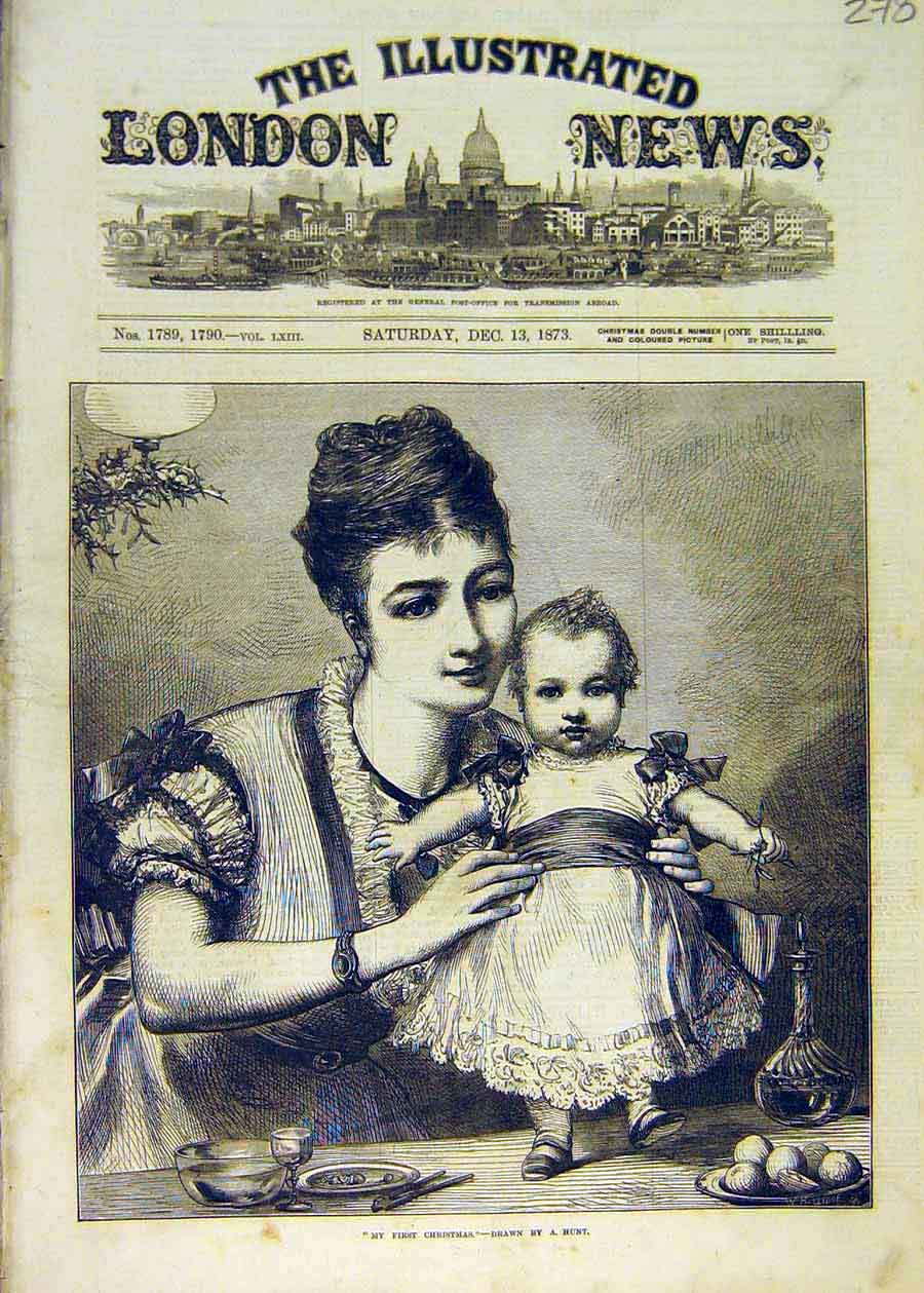 Print First-Christmas Hunt Fine Art 1873 Baby Mother 78Ccc1 Old Original