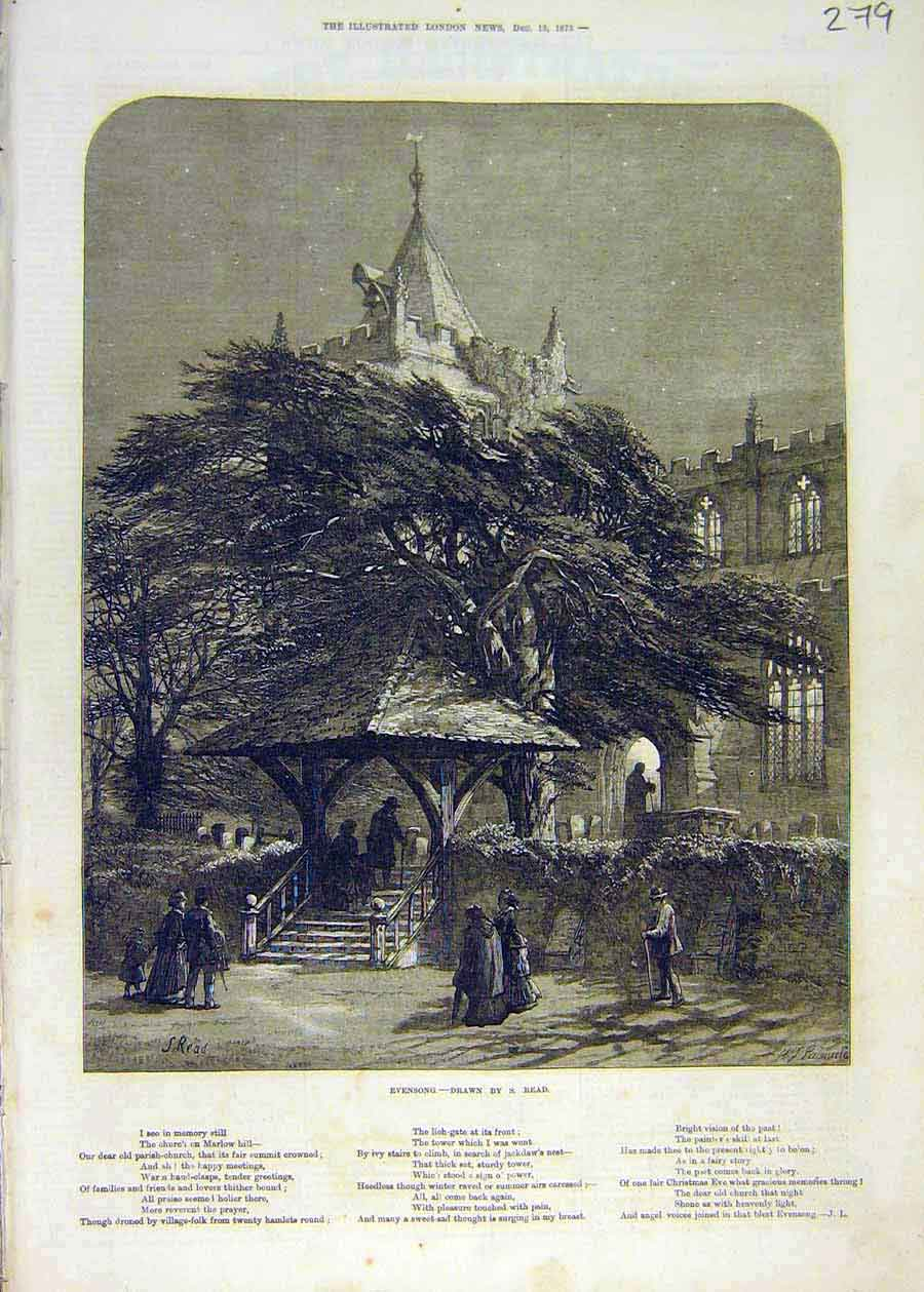 Print Evensong Read Church People Places Religious 1873 79Ccc1 Old Original