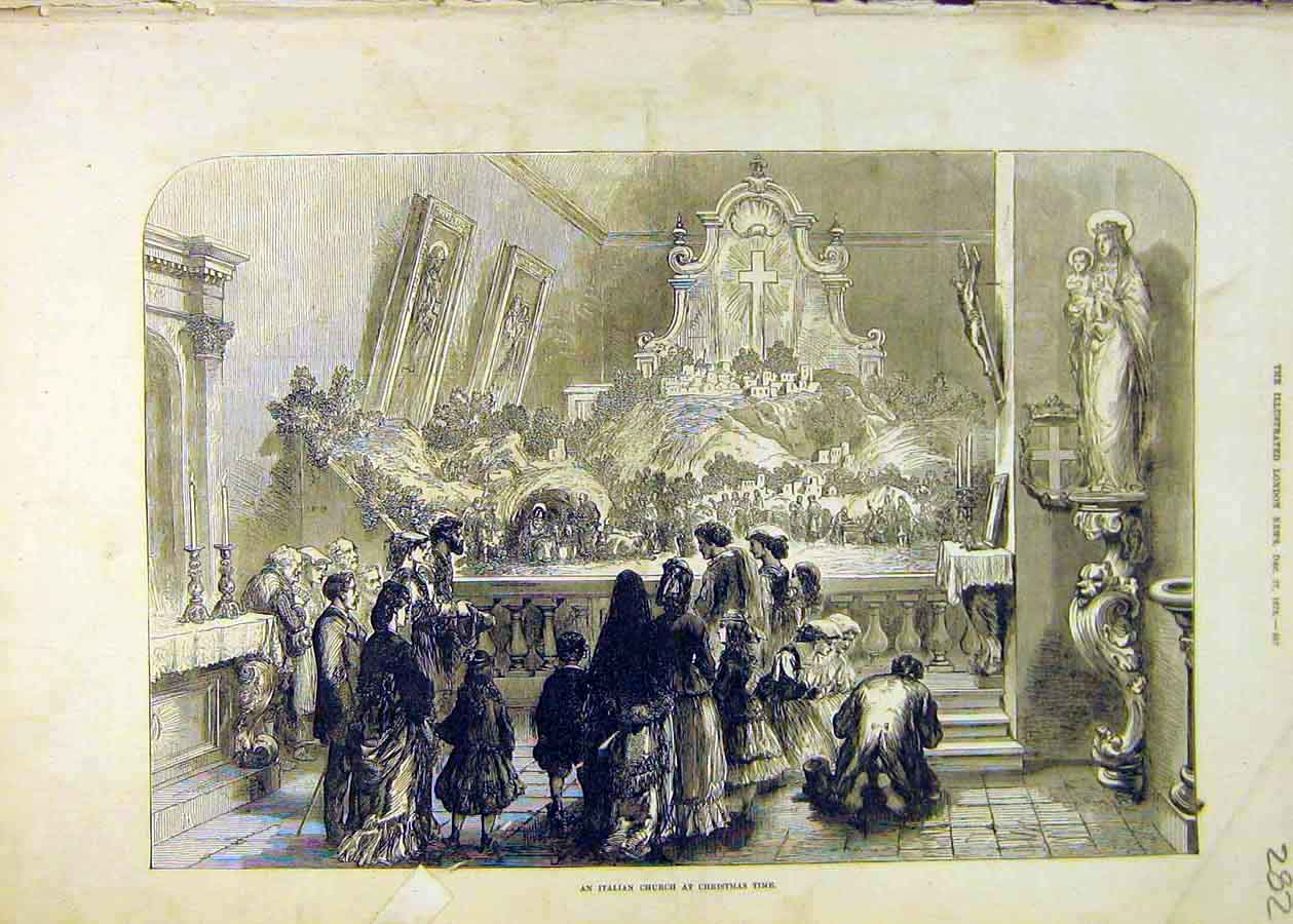 Print Italian Church Christmas-Time People Places Italy 1873 82Ccc1 Old Original