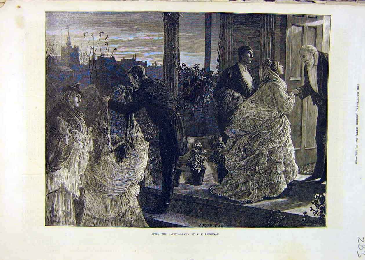 Print After-Party Brewtnall Farewell People Men Women 1873 83Ccc1 Old Original