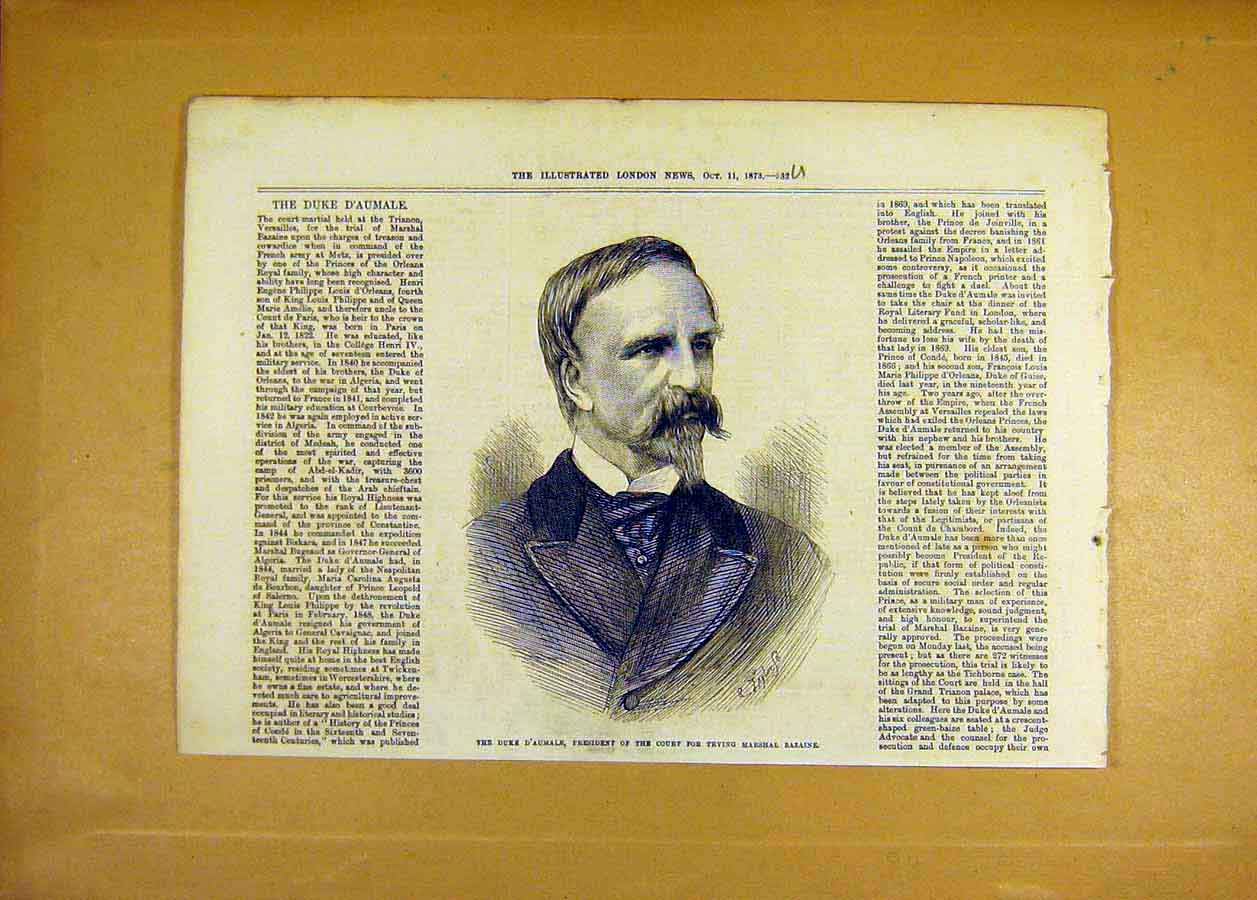 Print Duke D'Aumale President Court Marshal Bazaine 1873 32Uccc1 Old Original