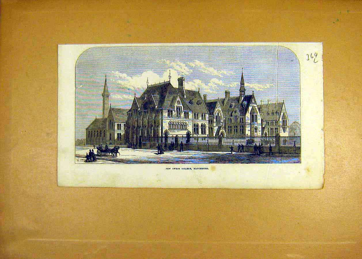 Print Owens College Manchester Building 1873 64Lccc1 Old Original