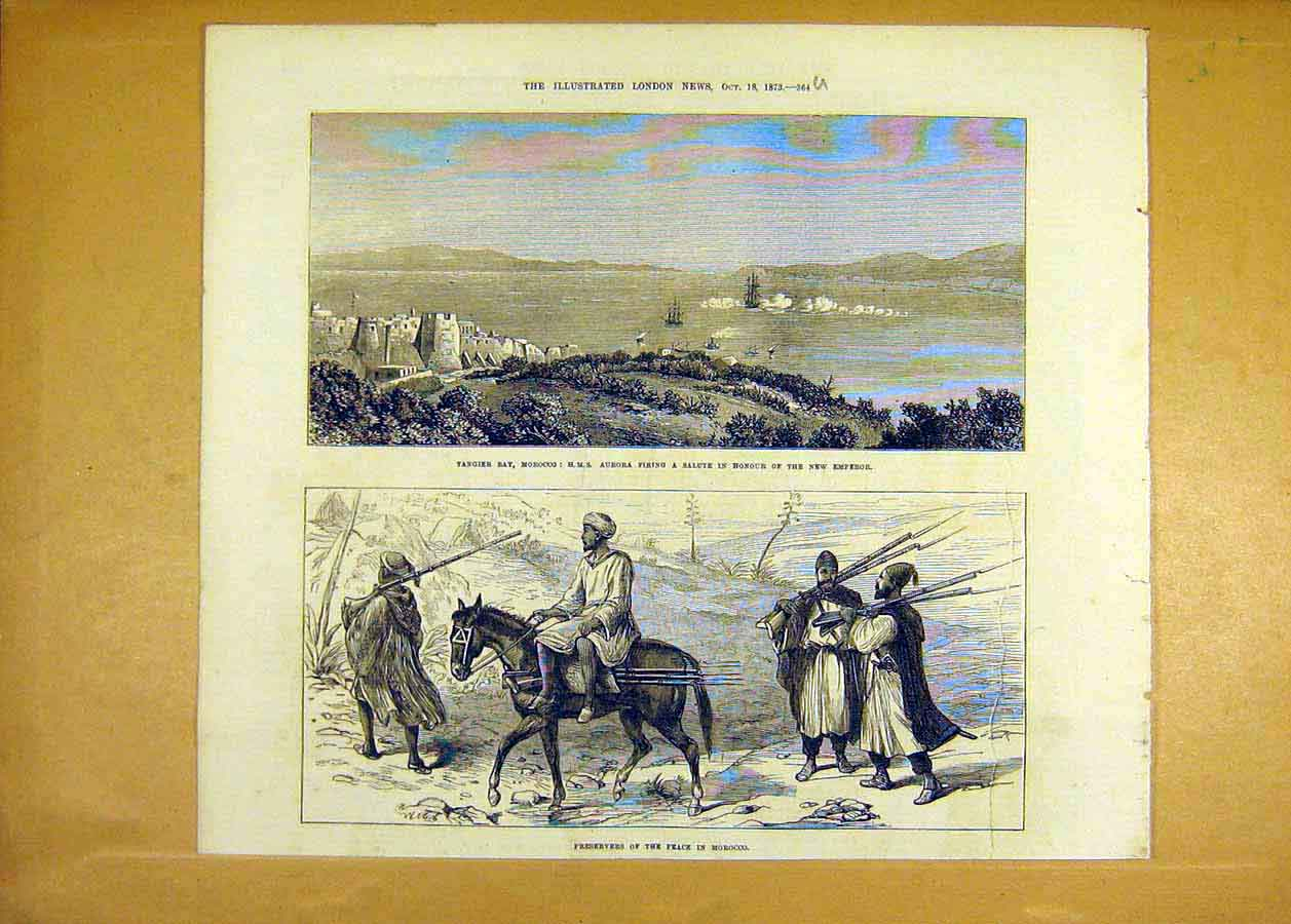 Print Tangier Bay Morocco Hms Aurora Peace Preservers 1873 64Uccc1 Old Original