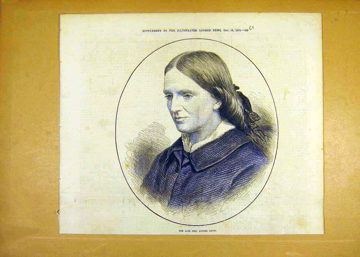 Print Portrait Mrs-Alfred-Gatty 1873 People 69Uccc1 Old Original