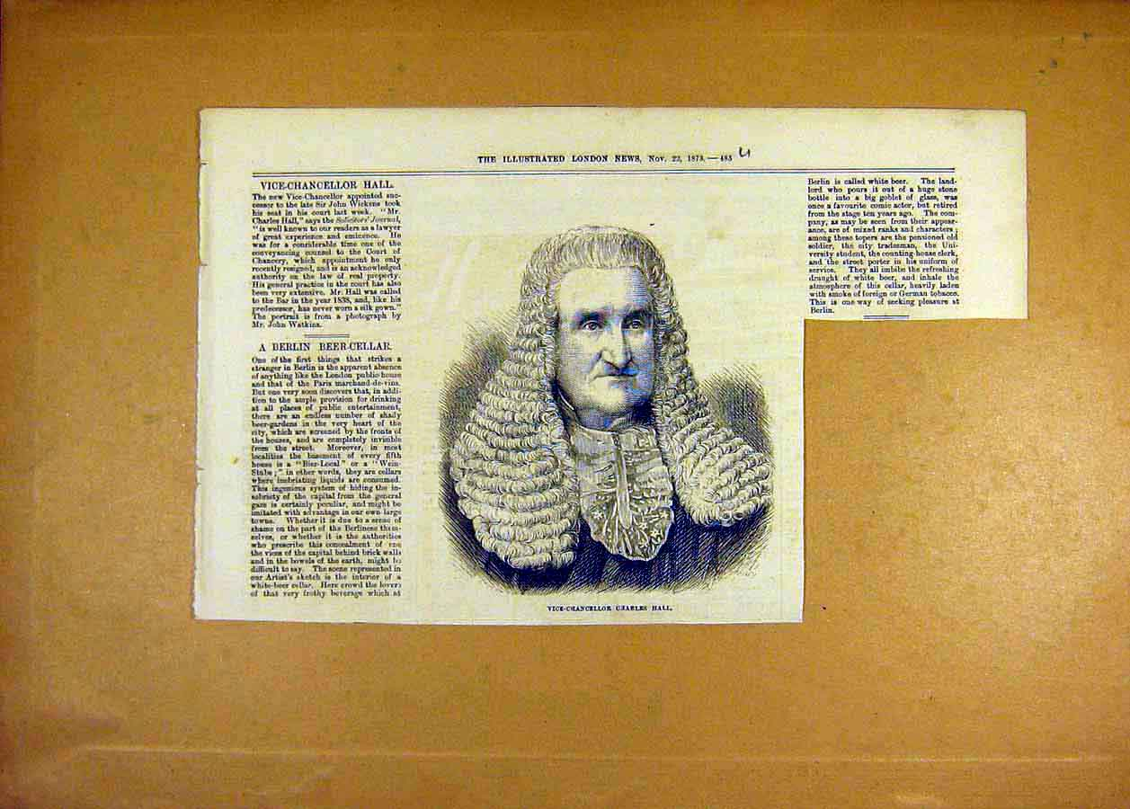 Print Vice-Chancellor Charles Hall 1873 Portrait 85Uccc1 Old Original