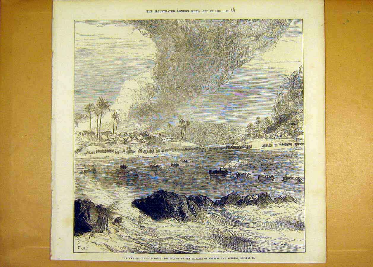 Print War Gcoast Villages Ampenee Akimfoo Africa 1873 01Uccc1 Old Original