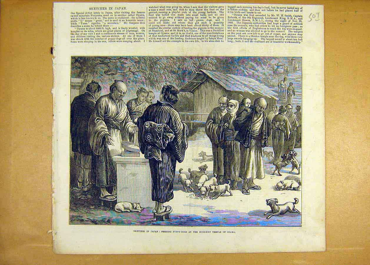 Print Sketches Japan Puppy-Dogs Buddhist Temple Oyama 1873 09Lccc1 Old Original