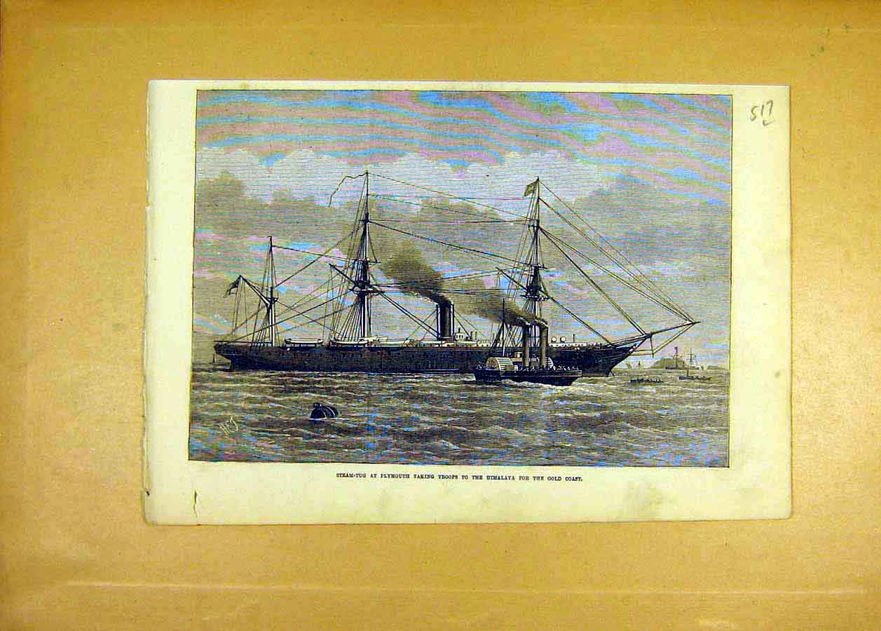 Print Steam-Tug Plymouth Troops Himalaya Gold-Coast 1873 17Lccc1 Old Original
