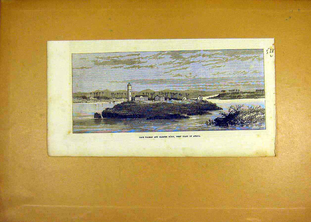 Print Cape Palmas Harper Town West-Coast Africa 1873 28Lccc1 Old Original