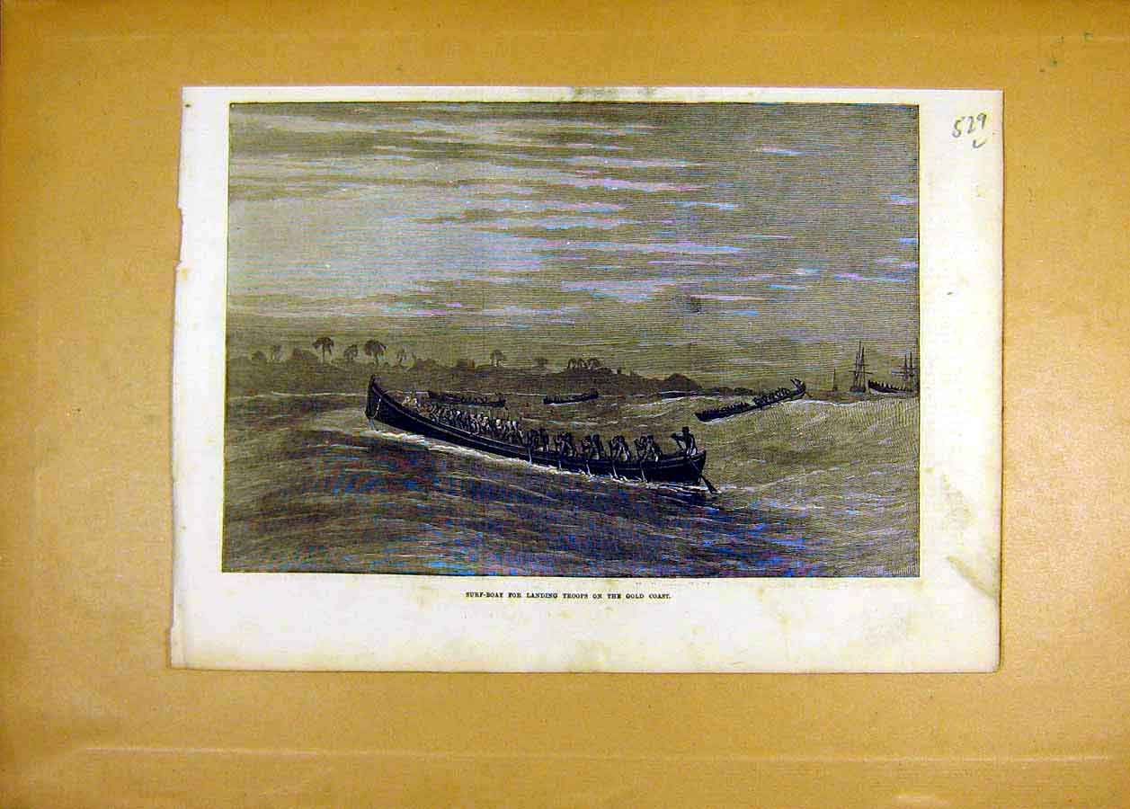 Print Surf-Boat Troops Gold-Coast Africa 1873 29Lccc1 Old Original