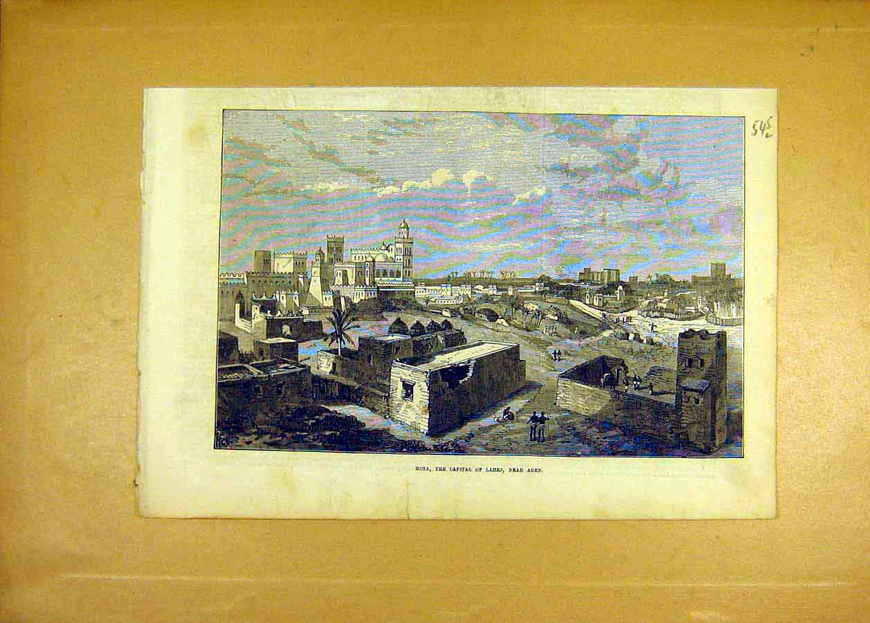 Print Hota Capital Lahej Aden Buildings 1873 45Lccc1 Old Original