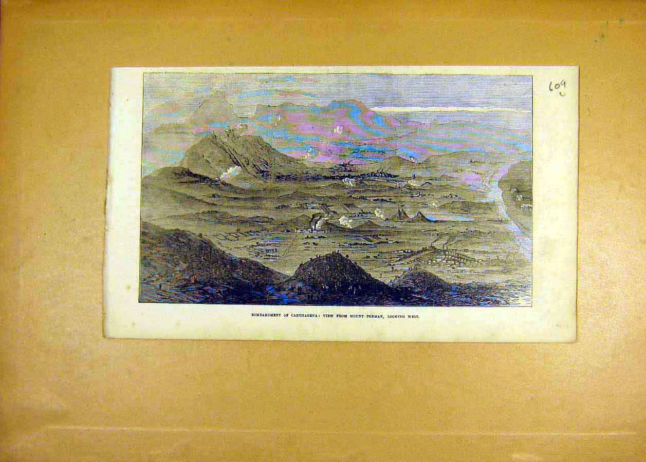 Print Carthagena Bombardment Mount Porman 1873 09Lccc1 Old Original