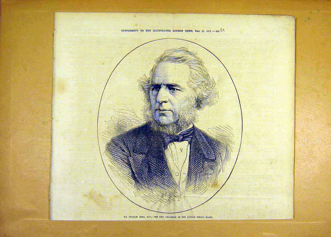 Print Charles Reed Portrait Chairman London School 1873 09Uccc1 Old Original