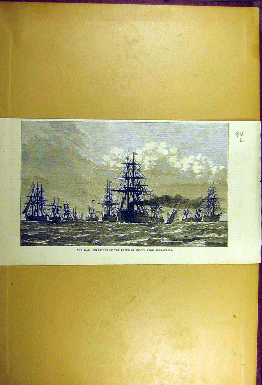 Print 1877 War Egyptian Troops Alexandria Ships Squadron 90Lccc1 Old Original