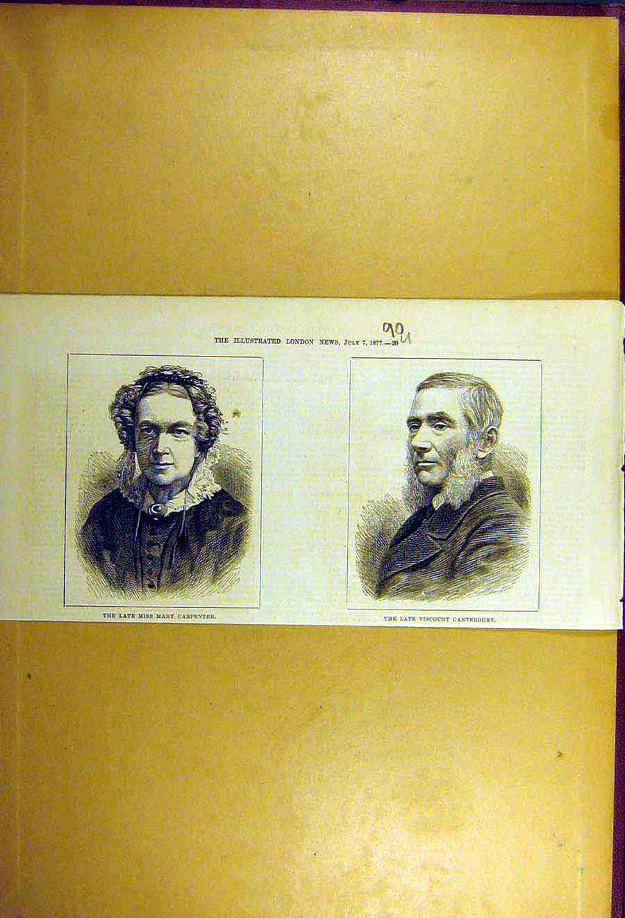 Print 1877 Portrait Mary-Carpenter Viscount-Canterbury 90Uccc1 Old Original