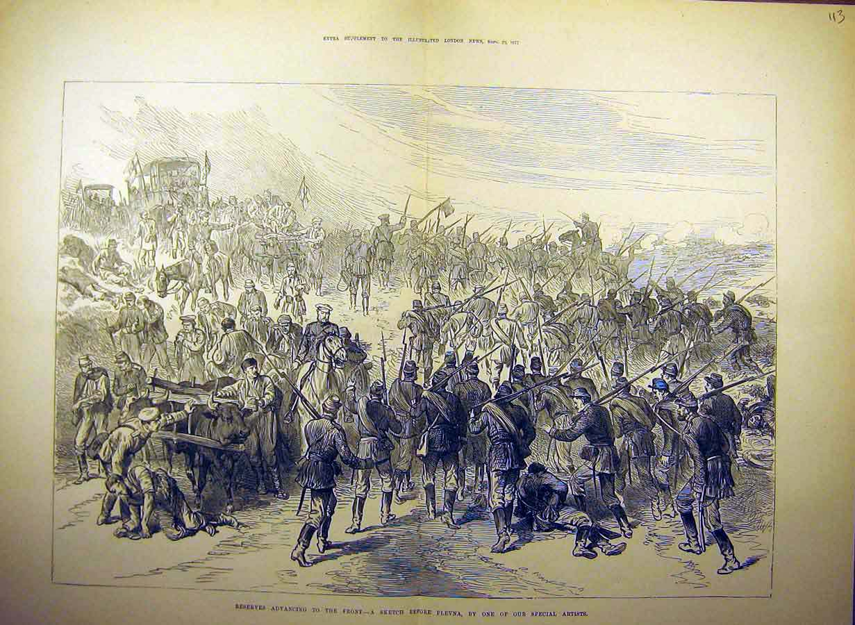 Print 1877 Plevna Reserves Advancing Troops War Soldiers 13Tccc1 Old Original