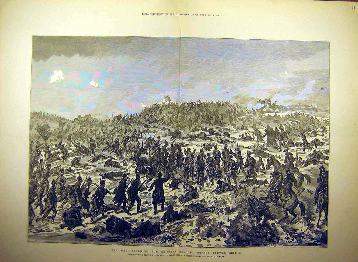 Print 1877 War Grivitza Redoubt Plevna Battle-Field 17Tccc1 Old Original
