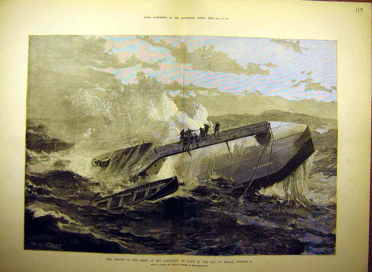 Print 1877 Rescue Crew Cleopatra Bay-Biscay Carter Ship 19Tccc1 Old Original