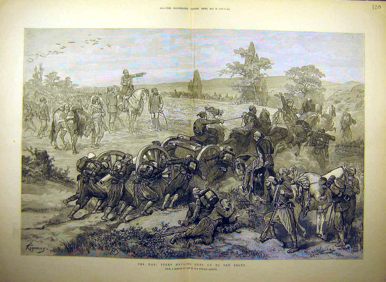 Print 1877 War Turks Guns Troops Artillery Military 20Tccc1 Old Original