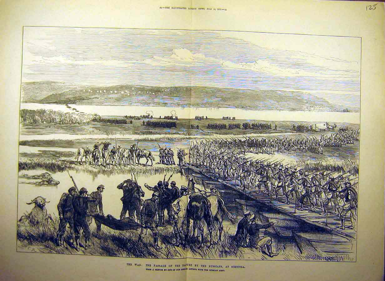 Print 1877 War Simintza Danube Troops Soldiers 25Tccc1 Old Original