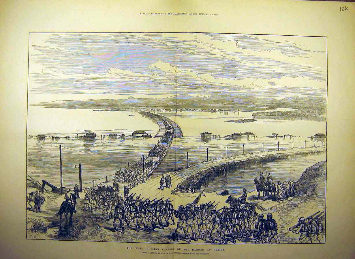 Print 1877 Russian Passage War Troops Danube-Braila 26Tccc1 Old Original