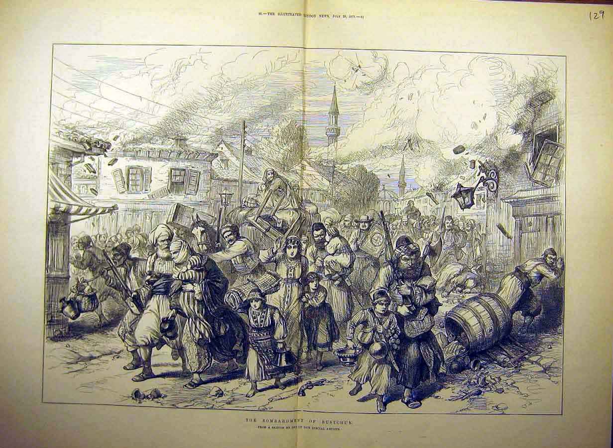 Print 1877 Rustchuk Bombardment People Evacuation War 29Tccc1 Old Original