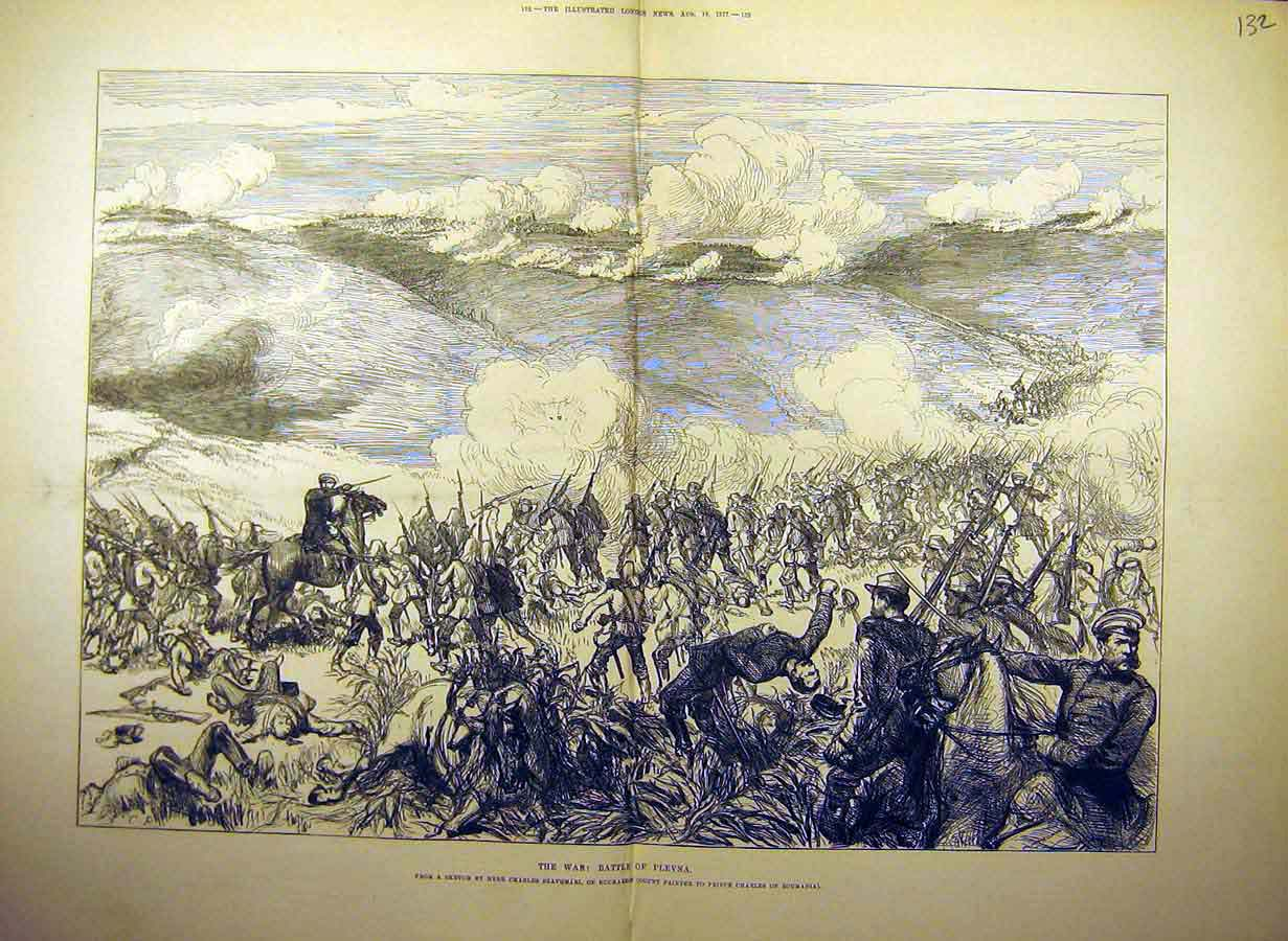 Print 1877 War Battle-Field Plevna Szathmari Bucharest 32Tccc1 Old Original
