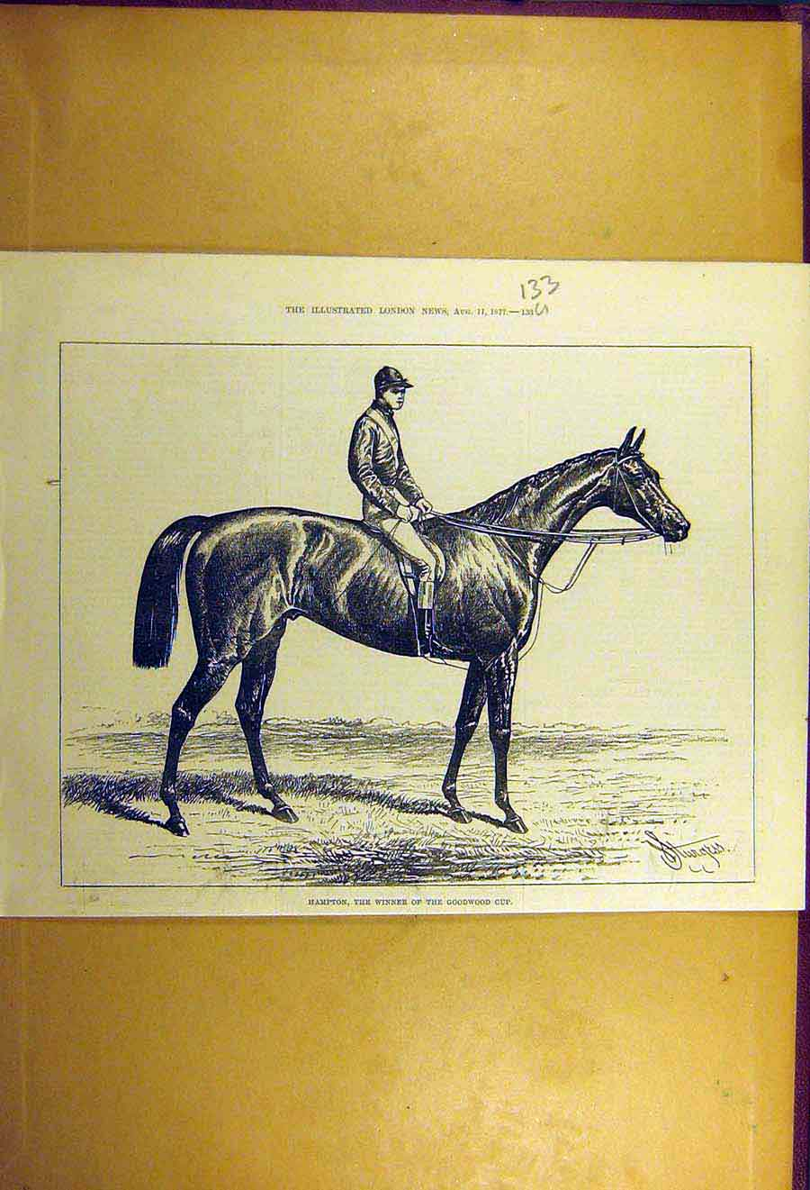 Print 1877 Hampton Race-Horse Winner Goodwood Cup 33Uccc1 Old Original
