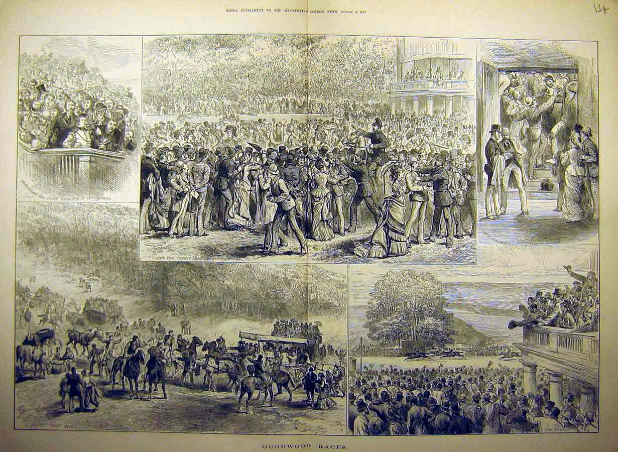 Print 1877 Goodwood Races People Course Grand-Stand 34Tccc1 Old Original