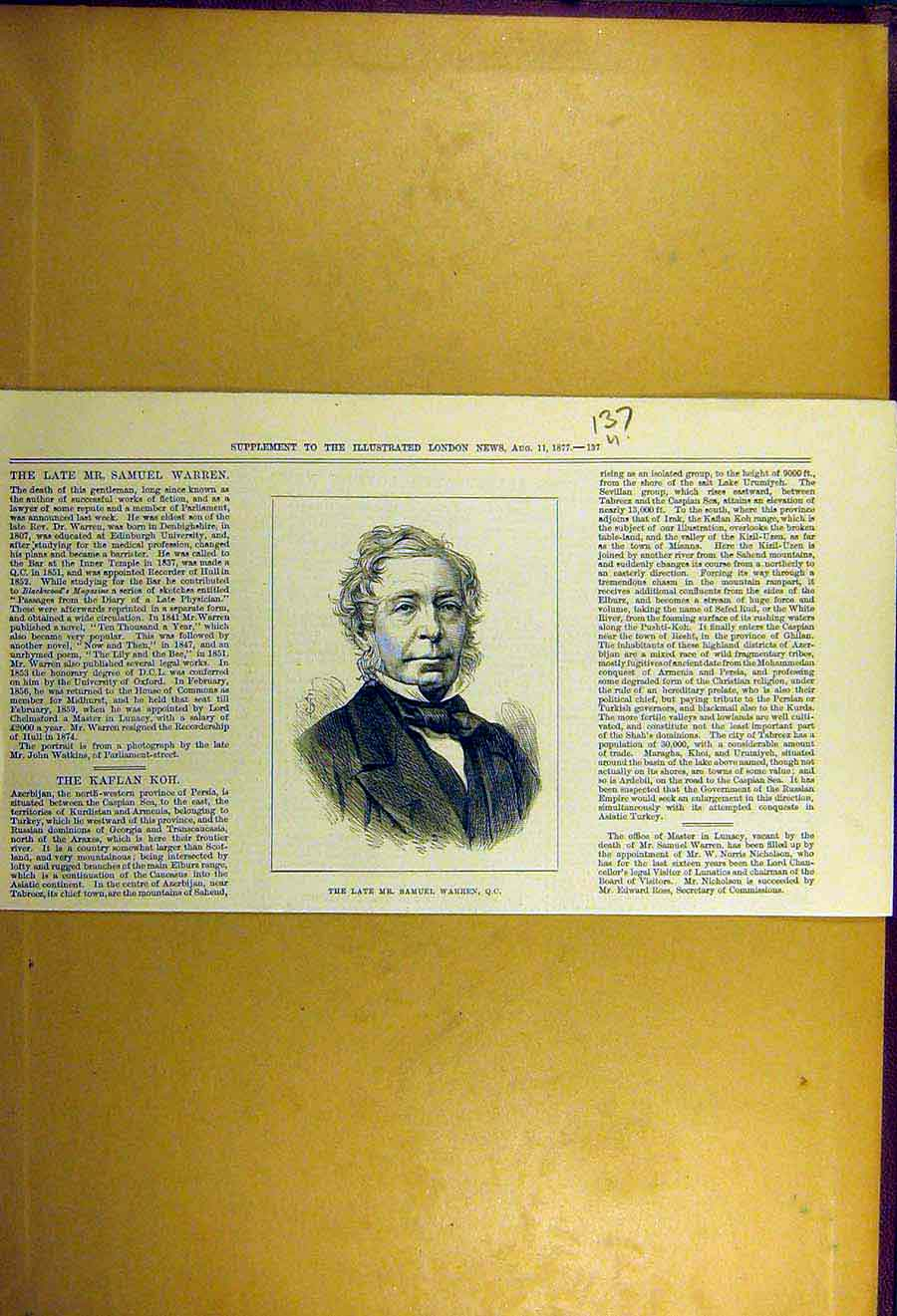 Print 1877 Portrait Samuel-Warren 37Uccc1 Old Original