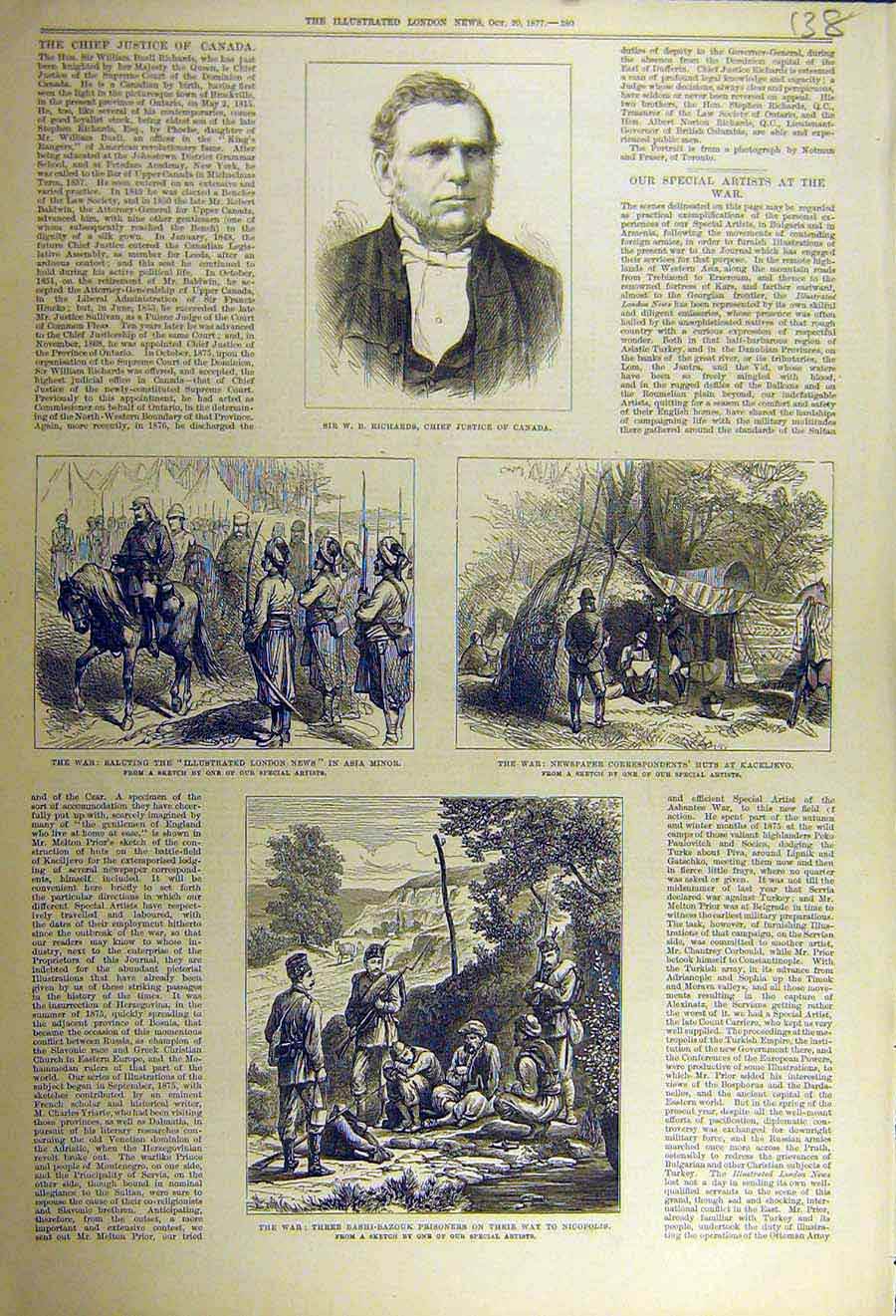 Print 1877 Richards Justice Canada War Russian-Turksih Troops 38Ccc1 Old Original