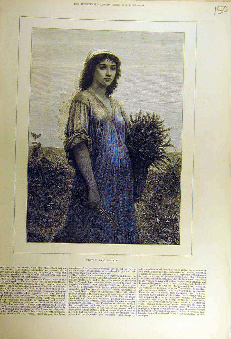 Print 1877 Ruth Landelle Lady Woman Girl Country 50Ccc1 Old Original