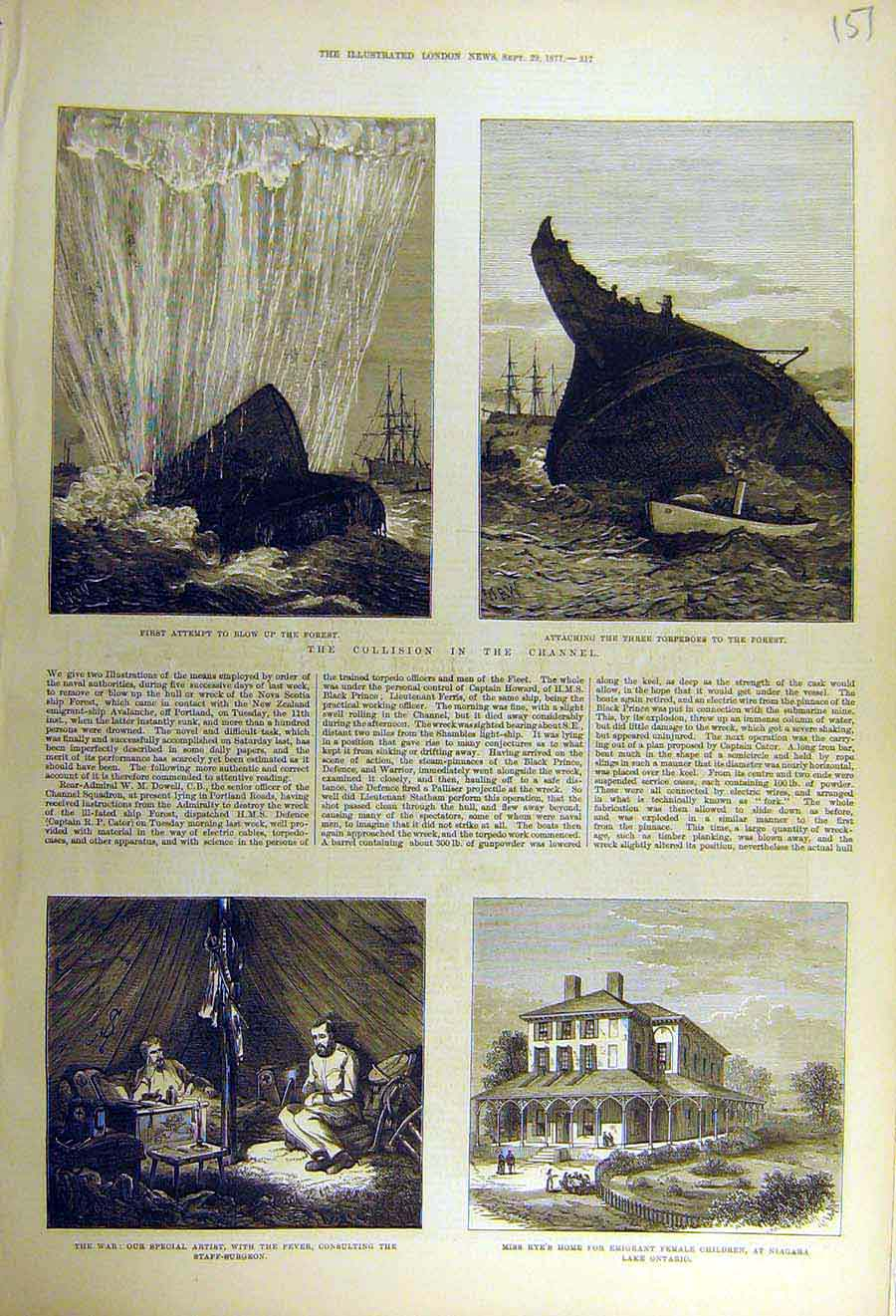 Print 1877 Collision Channel Forest Torpedo War Rye Niagara 51Ccc1 Old Original