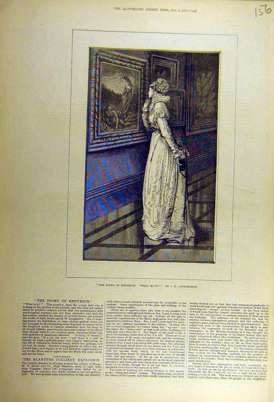 Print 1877 Endymon Letherbrow Story Painting Lady 56Ccc1 Old Original