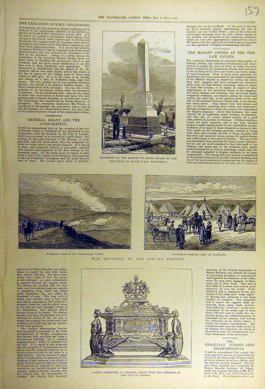 Print 1877 Monument Thunderer War Roumania Kadikeui Russian 57Ccc1 Old Original