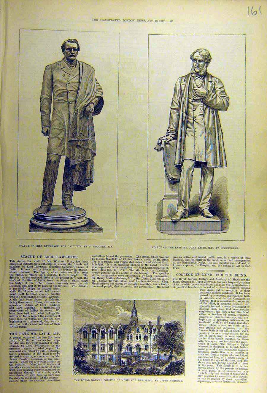 Print 1877 Statue Lawrence Laird Colelge Music Blind Norwood 61Ccc1 Old Original
