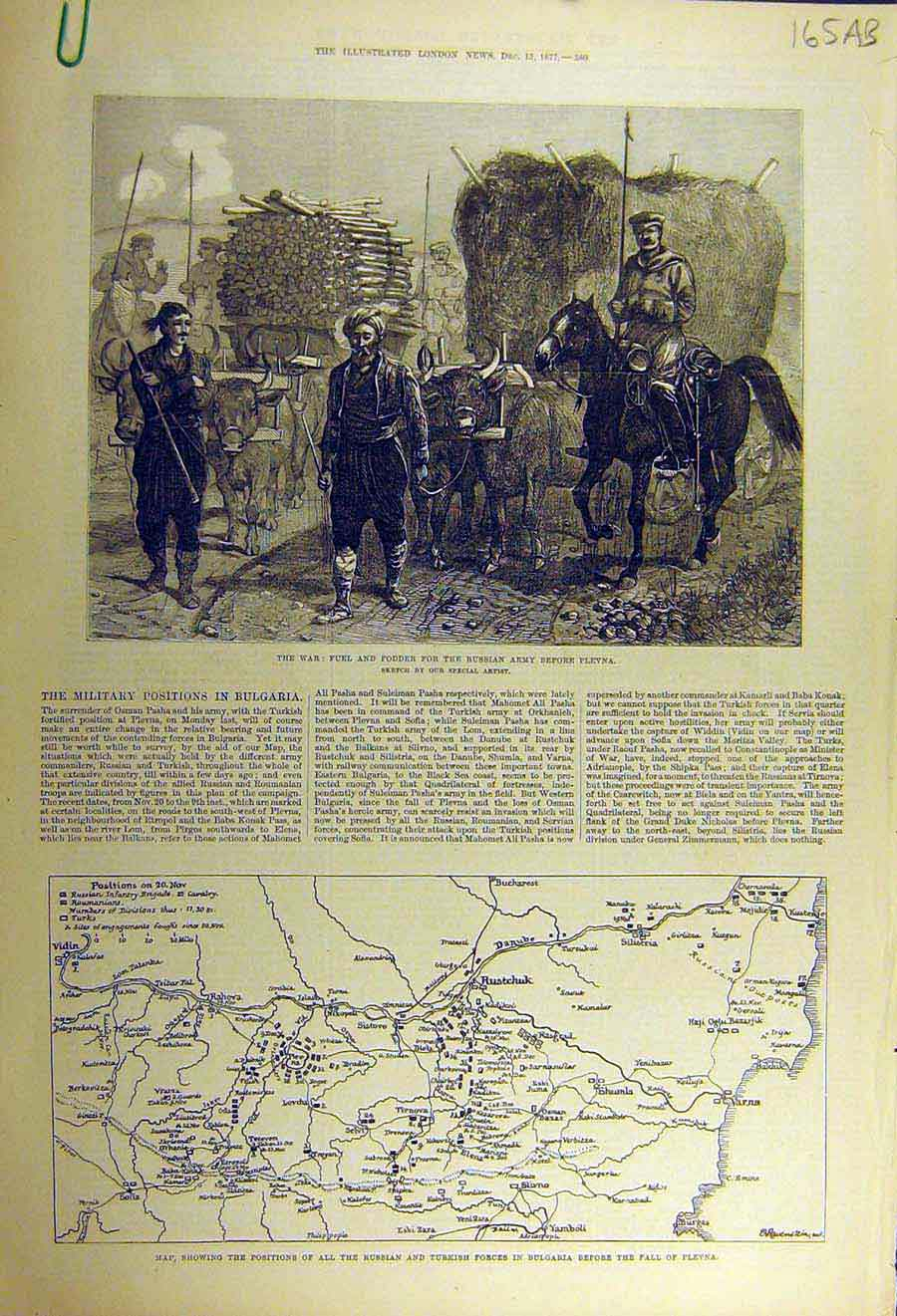 Print 1877 War Russian Army Map Turkish Bulgaria Shipka Pass 65Accc1 Old Original